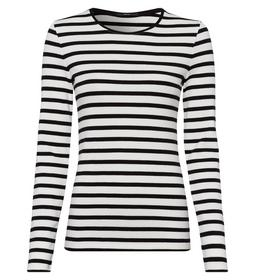 T-Shirt striped 1x1 rib round neck 1/ - 5282/offwh