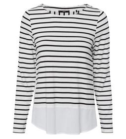 T-Shirt Striped Blouse Style Woven De - 5282/offwh