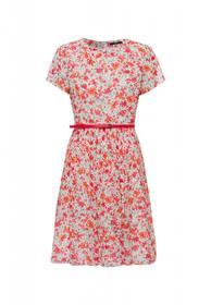 Kleid knielang mit Blätterdruck