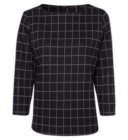 jersey sweater check design 3/4 sle e - 6002/black