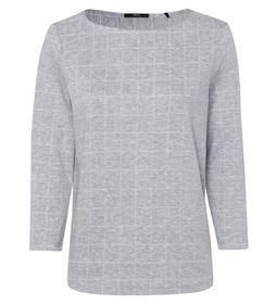 jersey sweater check design 3/4 sle e - 9948/stone
