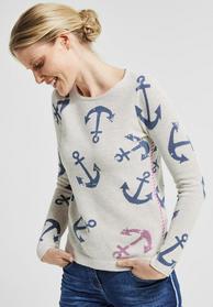 Baumwoll Pullover mit Print