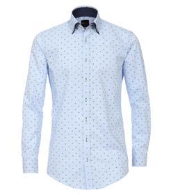 Venti Hemd Body Fit Größe 40 - Hellblau - mit modischem Druck - 100% Baumwolle