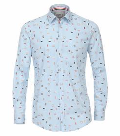 Venti Hemd Slim Fit Größe L - Hellblau - mit modischem Druck - 100% Baumwolle