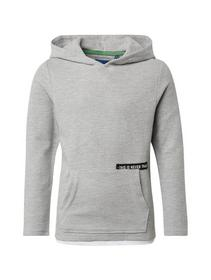 T-shirt with hood, drizzle melange-gray