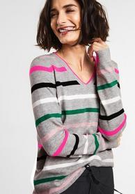Streifen Pullover mit V-Neck