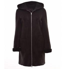 Velours Leder Jacke mit Zipper und Kapuze