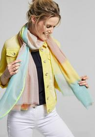 Color Block And Piping Scarf, neo mint