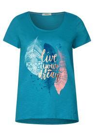 Federprint Shirt mit Wording