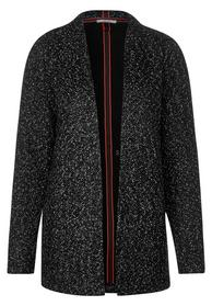 Open Bouclé Sweatjacket, Black
