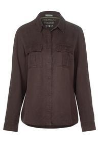 Tencel Blouse Shirt Collar - 12140/coffee bean bro