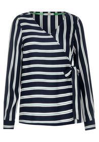 Fake Wrap Stripe Blouse