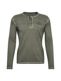 washed Henley with application - 10920/Deep Forest