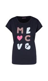 Kastiges T-Shirt mit Buchstaben-Applikation