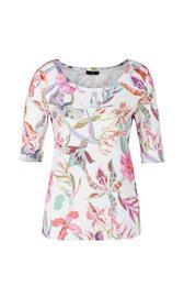 Ripp-Jersey-Shirt mit Orchideen-Print