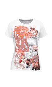 Baumwoll-T-Shirt mit Print und Stickerei