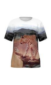 Baumwoll-T-Shirt mit Leopard