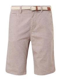 Strukturierte Chino Shorts mit geflochtenem Gürtel