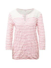 T-shirt crincle lace - 16782/offwhite red stripes