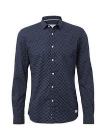 printed shark collar shirt