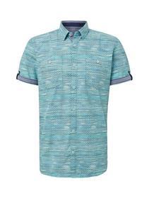 ray multicolor print  shirt - 17646/blue green mul