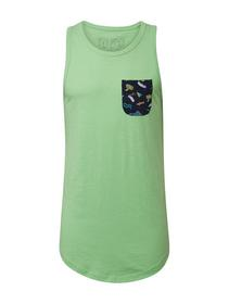 top with printed pocket - 17734/neon lime green