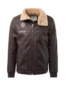 faux leather aviator jacket - 19000/brown leather