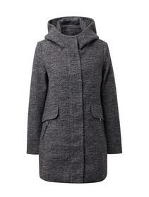 winterly twill coat - 19921/black white structure