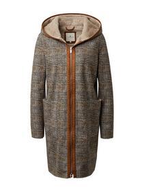faux shearling check coat