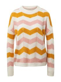 striped ajour pullover