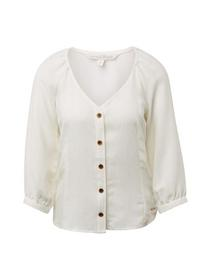 button-down puff sleeve blouse - 10332/Off White
