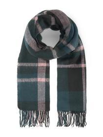cosy checked scarf - 18829/green herringbone check