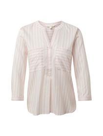striped boxy henley shirt - 21026/white rose verti
