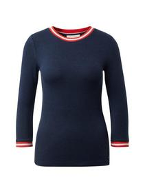 contrast neck tee - 10360/Real Navy Blue