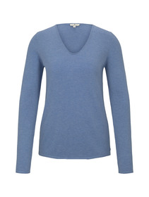 sweater basic v-neck - 15584/sea blue melange