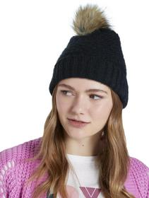 beanie with fake fur pompom - 14482/Deep Black