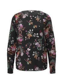 tunic with chest pocket detail - 20777/black flowe