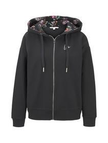 sweat jacket with printed hood - 14482/Deep Black