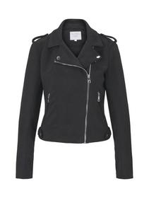 faux suede biker jacket - 14482/Deep Black