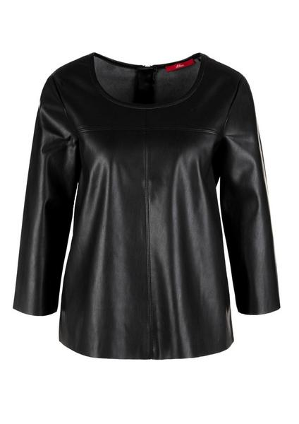 Fake Leather-Bluse