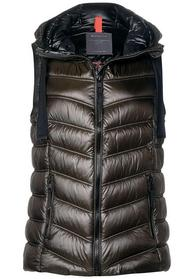 padded vest with hood, olive brown