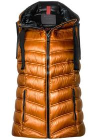 padded vest with hood, caramel
