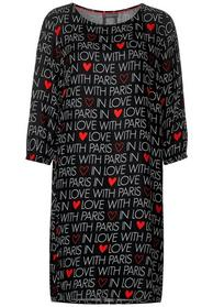 Wording Print Dress w tape det, Black