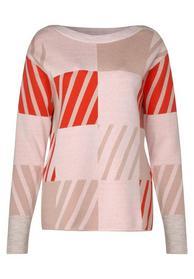 Feinstrick jacquard jumper wit - 31966/lava red