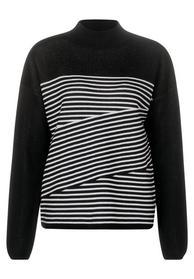 striped jacquard, fine knit - 20001/Black