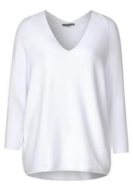 raglan v-neck, fine knit - 10000/White