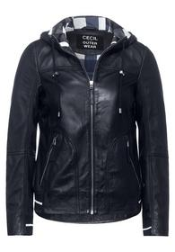 Leather Jacket with Hoody - 10128/deep blue