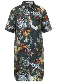 LINEN_Polo Dress flowerprint - 31687/slate green