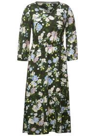 Midi Flower Print Dress - 33036/utility olive