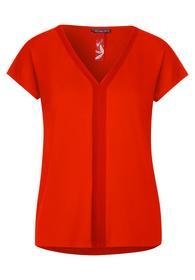 v-neckline rib tape shirt - 12333/cheeky red